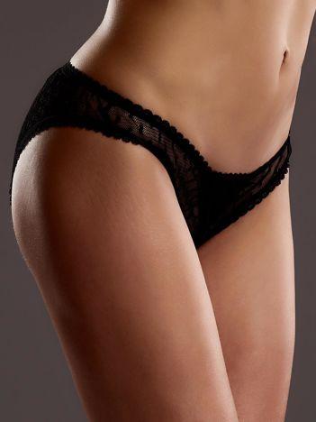 Czarne majtki erotyczne w groszki z otwartym krokiem