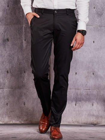 Czarne materiałowe spodnie męskie z kieszeniami