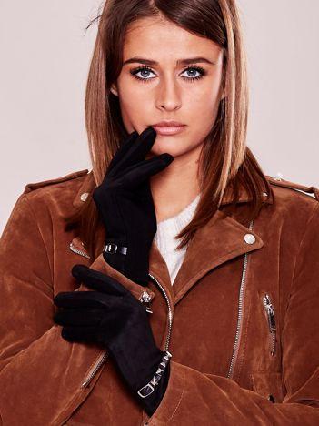 Czarne miękkie rękawiczki ocieplane z ćwiekami