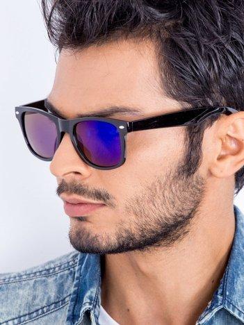 Czarne okulary przeciwsłoneczne fioletowo-niebieskie lustrzanki  wayfarery