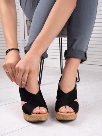 Czarne półażurowe sandały ANESIA