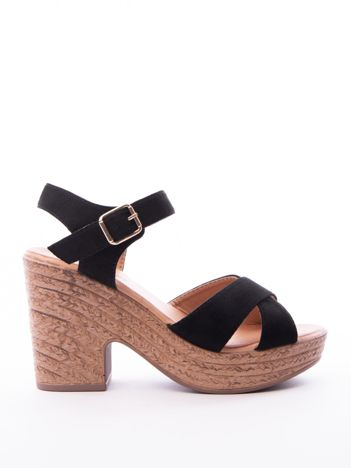 Czarne sandały MULANKA na platformie i obcasach