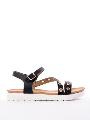 Czarne sandały SABATINA z ozdobnymi nitami