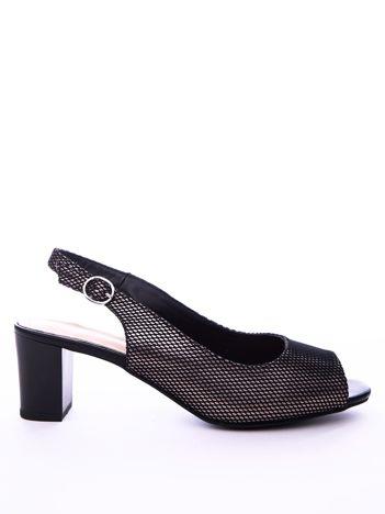 Czarne sandały SERGIO LEONE na klocku z miedzianym wzorem