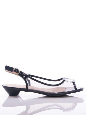 Czarne sandały Sabatina z przezroczystą cholewką i ozdobnymi kryształkami na przodzie