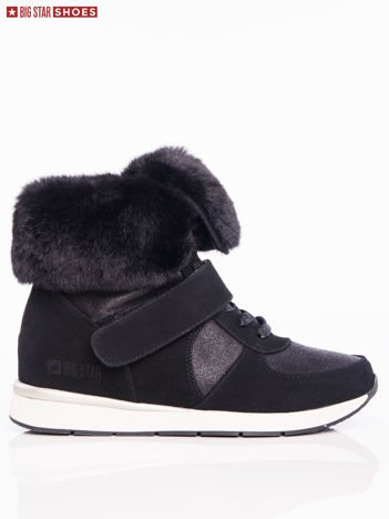 Czarne sneakersy BIG STAR za kostkę z ozdobnym futrzanym kołnierzem
