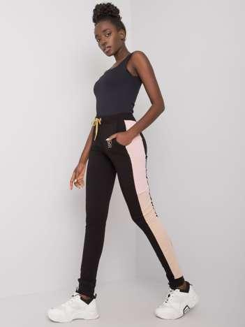 Czarne spodnie dresowe z lampasami Sally