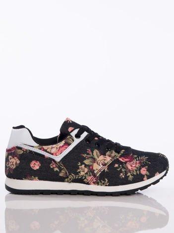 Czarne sportowe buty w kolorowe kwiaty na sprężystej podeszwie