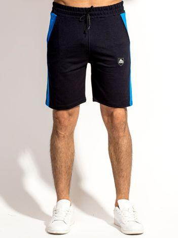 Czarne szorty męskie z kontrastowymi wstawkami