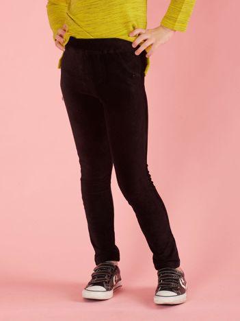 Czarne sztruksowe jegginsy dla dziewczynki