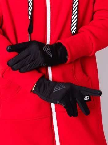 Czarne termoaktywne rękawiczki unisex Touch Screen System