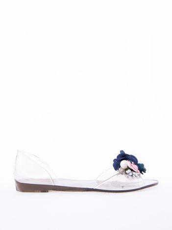 Czarne transparentne sandały z ozdobnym kwiatami na przodzie cholewki