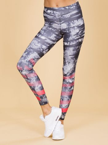 Czarne wzorzyste damskie legginsy