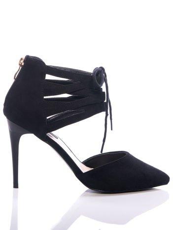 Czarne zamszowe szpilki lace up z wiązaniem faux suede