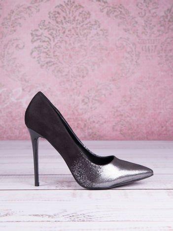 Czarne zamszowe szpilki w szpic z srebrnym przodem faux suede