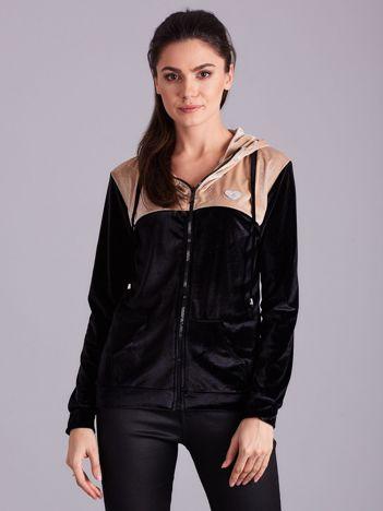 Czarno-beżowa bluza welurowa