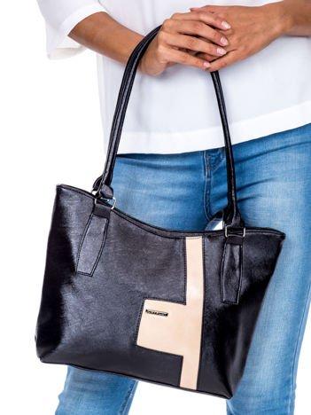 Czarno-beżowa torba na ramię z ekoskóry