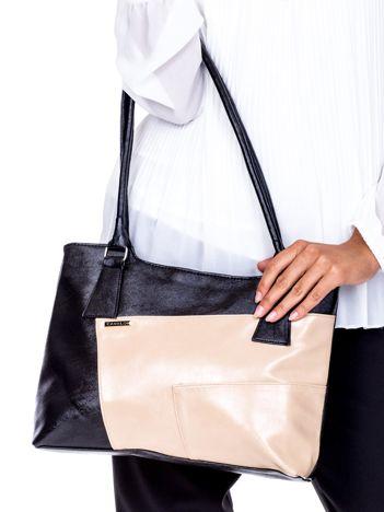 Czarno-beżowa torebka damska na ramię z przeszyciami