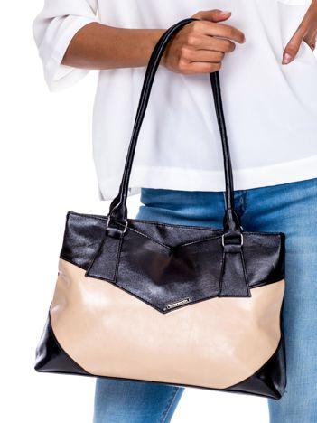 Czarno-beżowa torebka damska ze skóry ekologicznej