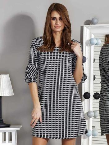 Czarno-biała wzorzysta sukienka damska