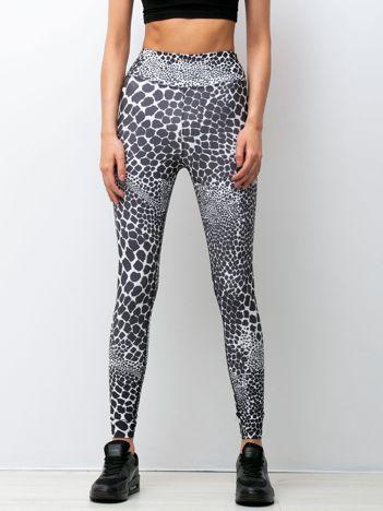 Czarno-białe legginsy Jungle