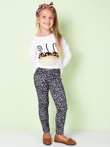 Czarno-białe legginsy dla dziewczynki we wzory