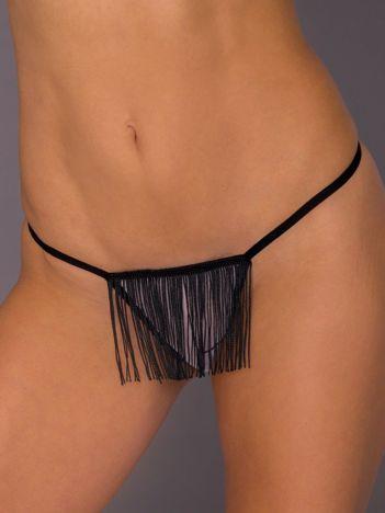 Czarno-białe majtki stringi damskie z frędzelkami