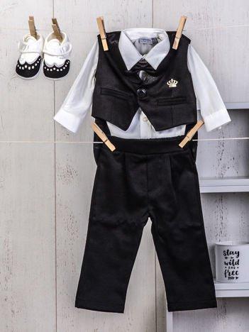 Czarno-biały 5-elementowy wizytowy zestaw niemowlęcy dla chłopca na chrzest wesele święta