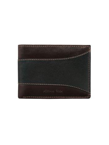 Czarno-brązowy otwarty skórzany portfel męski