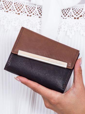 Czarno-brązowy portfel damski z ozdobnym zapięciem