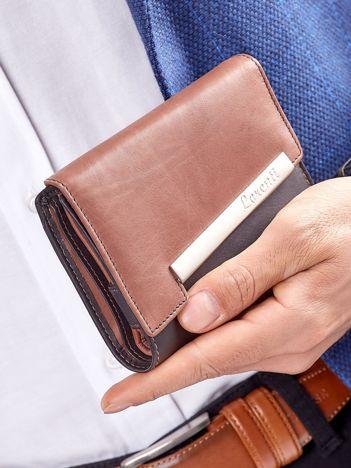 Czarno-brązowy portfel męski z ozdobnym zapięciem