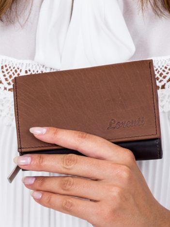 Czarno-brązowy skórzany portfel damski