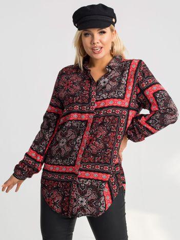 Czarno-czerwona koszula plus size Eleanor RUE PARIS