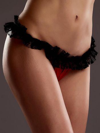 Czarno-czerwone otwarte stringi erotyczne z koronką