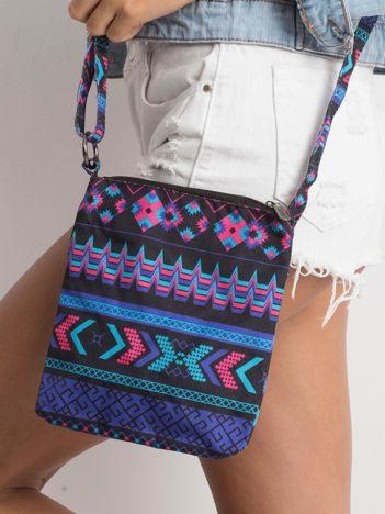 Czarno-fioletowa mała torebka we wzory