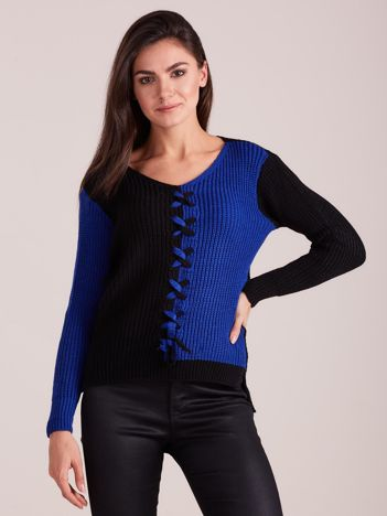 Czarno-niebieski dwukolorowy sweter