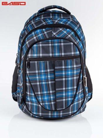 Czarno-niebieski plecak szkolny w kratkę