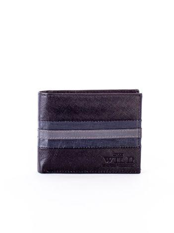 Czarno-niebieski portfel ze skóry naturalnej
