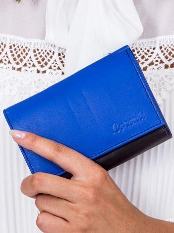 Czarno-niebieski skórzany portfel damski