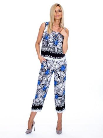 Czarno-niebieski wzorzysty komplet top i spodnie