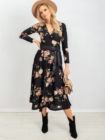 Czarno-różowa sukienka Evelyn