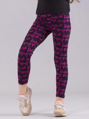 Czarno-różowe legginsy dziewczęce z nadrukiem BARBIE