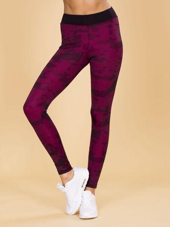 Czarno-różowe legginsy moro