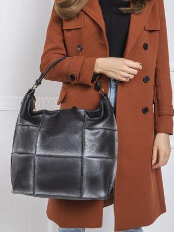 Czarno-srebrna torba patchwork