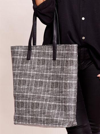 Czarno-szara miejska torba w kratę