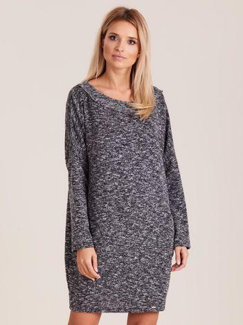 Czarno-szara sukienka z kieszeniami