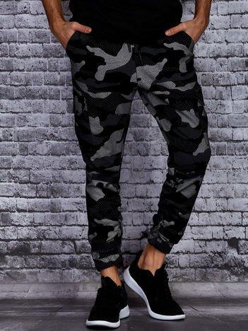 Czarno-szare spodnie dresowe we wzór moro