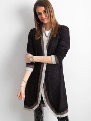 Czarno-szary długi sweter