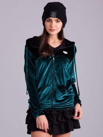 Czarno-zielona bluza welurowa