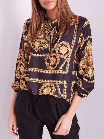 Czarno-złota elegancka bluzka ze wzorem